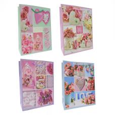 Сумка(пакет) картон 18*24*8см ассорти романтика - цветы и сердца