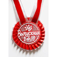 Медаль-розетка D66 мм Выпускник красная лента с серебром