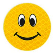 """Значок на пластике """"Смайл с улыбкой"""" D 50 мм"""